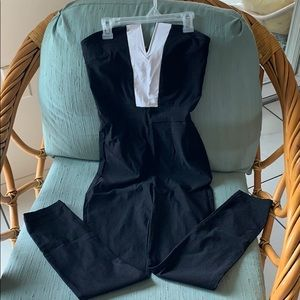 Strapless one-piece jump suit.